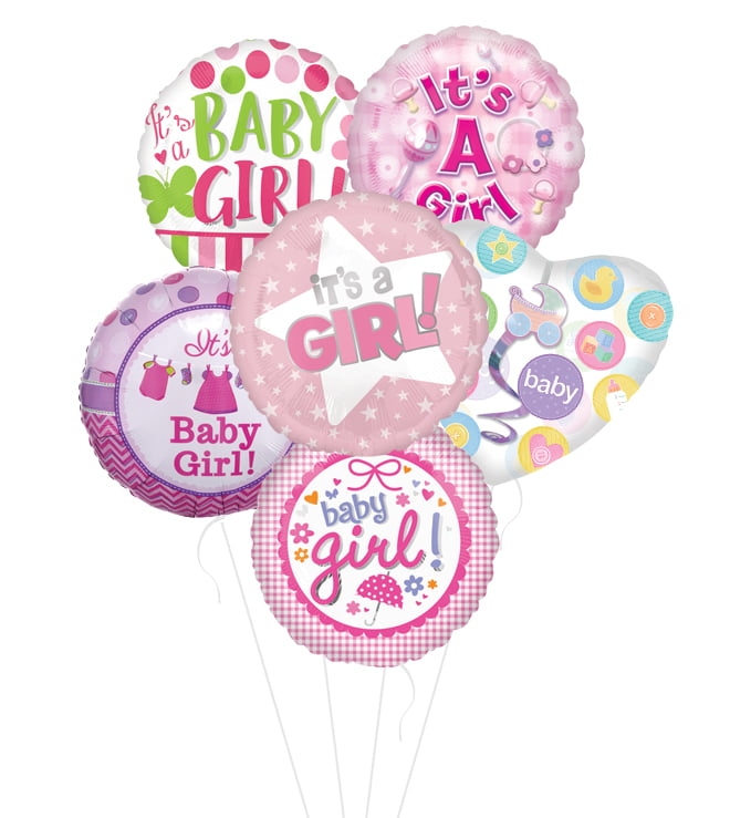 New Baby Girl Balloon Bouquet